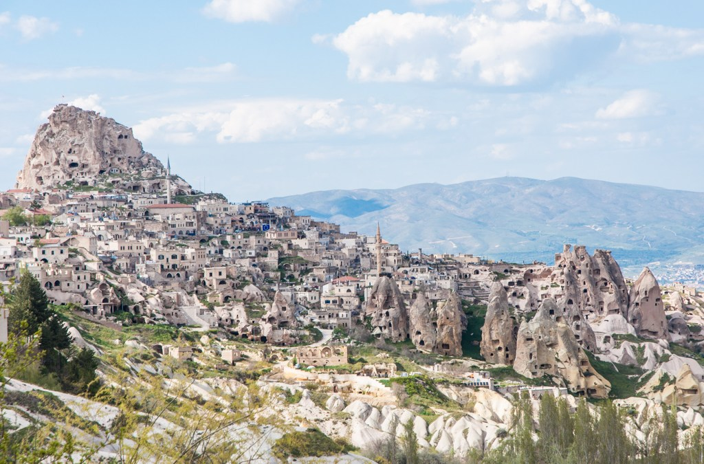 Turkey-The ancient cliff city of Uchisar in Cappadocia.