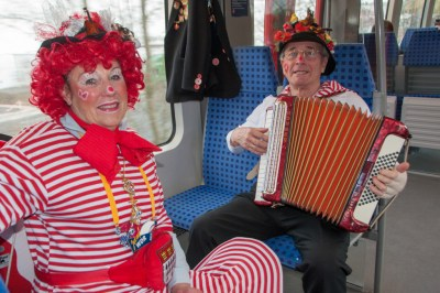 On Monday morning, with the entire center of Cologne closed to traffic, the train is the best option to get into town. Somebody start to play carnival music, and the other passengers sing along.