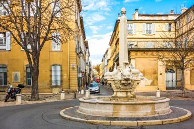 The Fountain of the Four Dolphins is a landmark of the Mazarin Quarter.