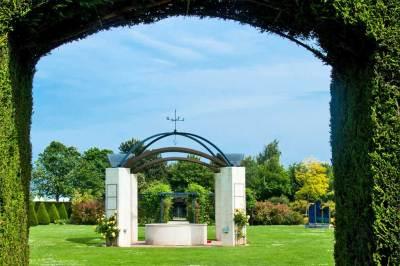 The British Memorial Garden at the Caen Peace Memorial.