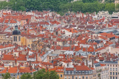 The rooftops of the Old Lyon seen from Fourvière hill.