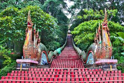 Giant stone Nagas guard the 306-step stairway to Wat Phra That Doi Suthep.