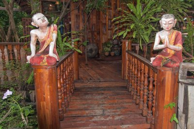 Vintage Welcome  figurines mark the entrance of Ayurvana Spa.