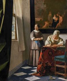 Johannes Vermeer, Lady Writing a Letter with her Maid. Oil on Canvas, 71.1 x 58.4 centimeters. (28 x 23 inches.), Dublin, National Gallery of Ireland.
