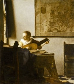 Johannes Vermeer, Woman with a Lute. Oil on canvas 51.4 x 45.7 cm. (20 1/4 x 18 in.) New York, Metropolitan Museum of Art.