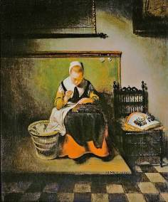 Nicolas Maes, Young Woman Sewing. Oil on Canvas. 55,6 x 46,1 cm. (21.8 x 18.1 in.) London, Mansion House, The Harold Samuel Collection.