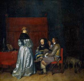 Gerard ter Borch, The Paternal Admonition. Oil on canvas. 71 × 73 cm (28 × 28.7 in). Amsterdam, Rijksmuseum.
