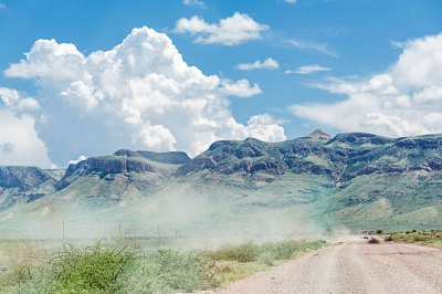 Traffic is rare across the Khomas Highlands, and visible mainly through  a trail  of dust.