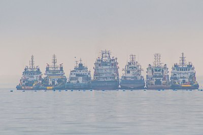Ships from the off-shore drilling fields of Angola come to Walvis Bay for maintenance and garaging.