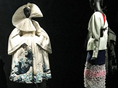 Galliano's  coat-gown decorated with Hokusai's Great Wave .