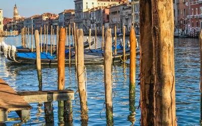 Along the Grand Canal - gondolas.