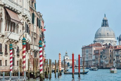 Vaporetto approach to the mouth of the Grand Canal and the Santa Maria della Salute Church.