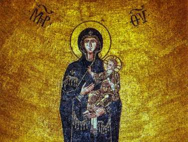 Detail of the 12th century golden mosaic of the Madonna and Child in the apse of the Torcello  Basilica di Santa Maria dell'Assunta.