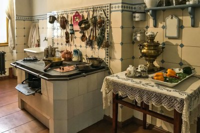 The kitchen at the Art Nouveau Museum.