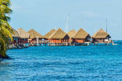The overwater bungalows have their private access to the lagoon.
