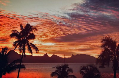 Sunset over Mo'orea.