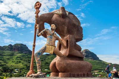 Ancient Marquesan myths are interpreted by modern artists at the mountaintop sculpture garden on Nuku Hiva.