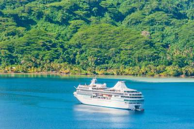 The M/S Paul Gauguin at anchor in Huahine's Mareo Bay.