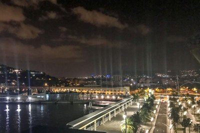 Night view of the Moll de Barcelona and ferry terminal, from the Eurostars Grand Marina Hotel.