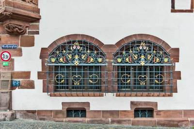 Freiburg-im-Breisgau - Architectural details: The New Town Hall.