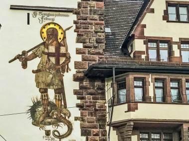 Freiburg-im-Breisgau - Architectural details: Schwabentor gate tower.