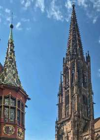 The spire of the Minster and the turrets of the Histroical Merchant's Hall decorate the skyline.