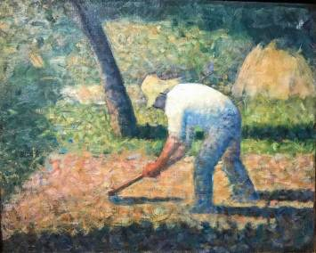 Peasant with Hoe, Georges Seurat, 1882. Post-Impressionist oil on canvas (Guggenheim Museum, New York, Solomon R. Guggenheim Founding Collection).