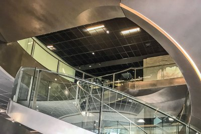 The heart of the museum is a 17-metre-high atrium with a sculptural spiral staircase.