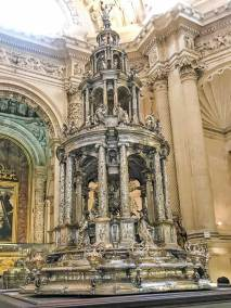 A spectacular silver reliquaries at the treasury of the Seville Cathedral.