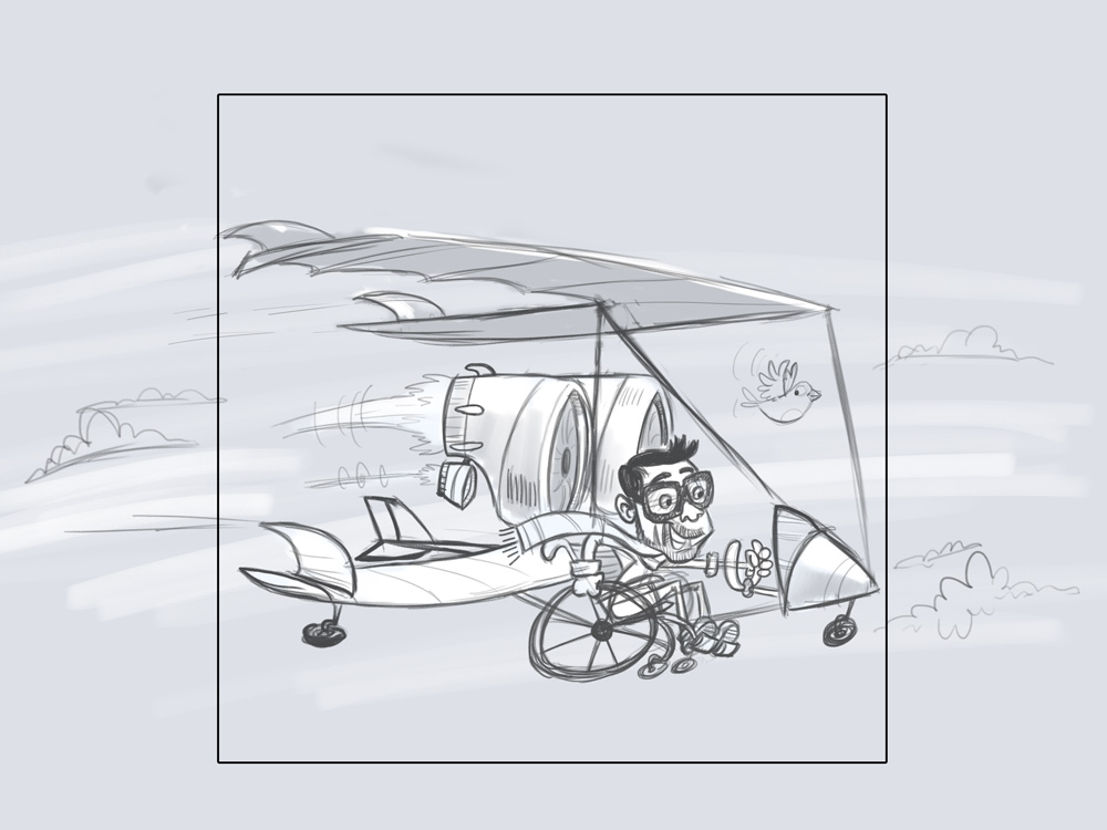 Dev on Wheels Header Illustration sketch 2