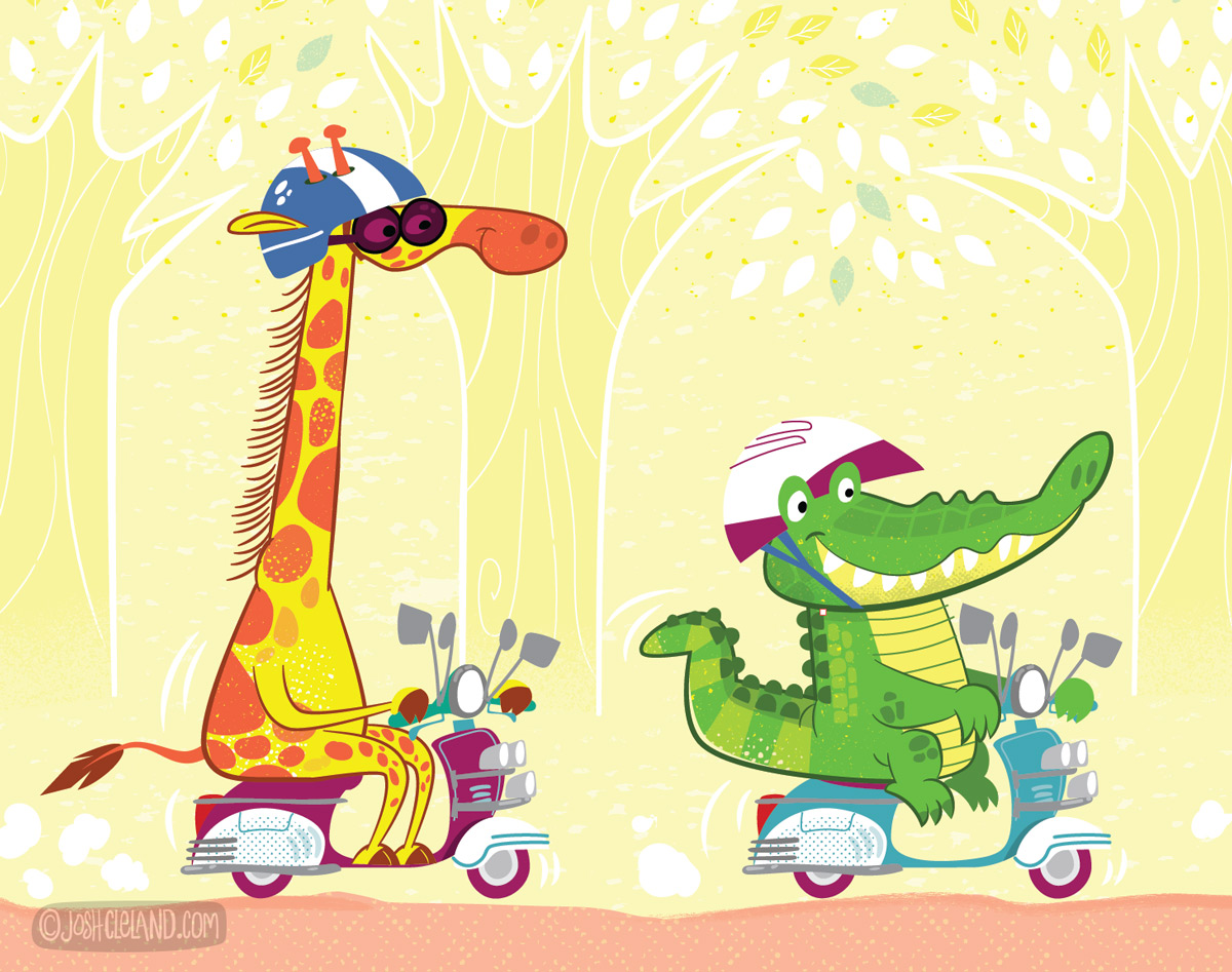 Animals driving scooters illustration 2