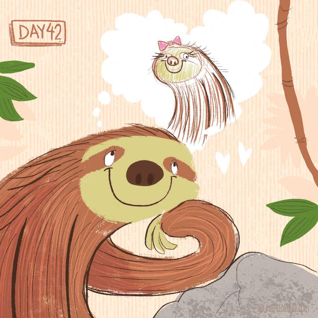 Land of Cle sloth illustration by illustrator Josh Cleland