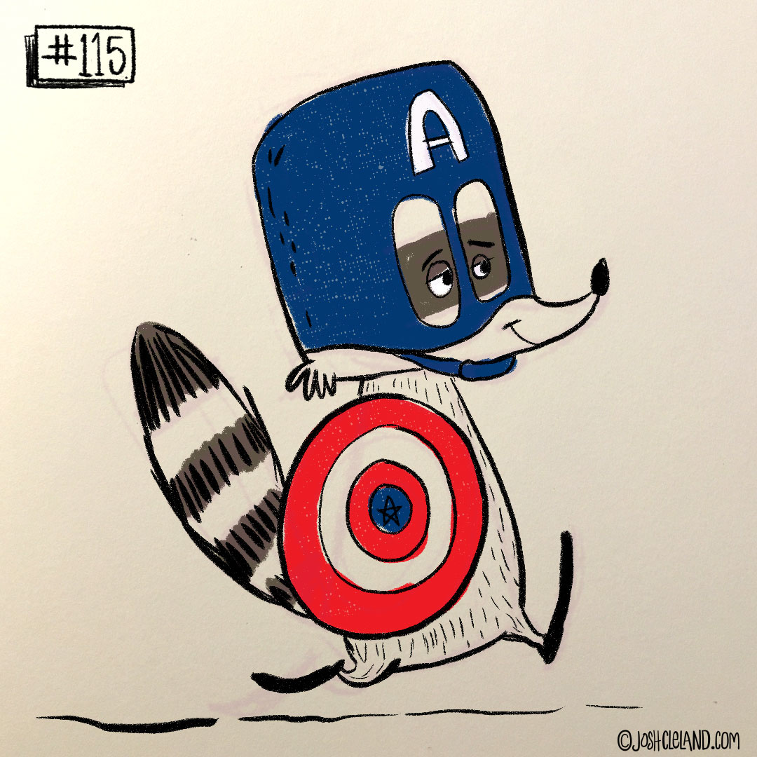 LAND of CLE by illustrator Josh Cleland captain america raccoon