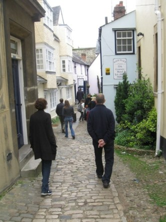 Narrow street leading to the Turf Tavern