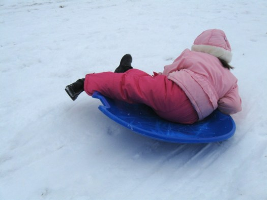 Josie goes down the hill by herself!