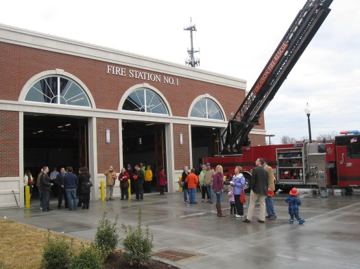 Residents come out to see Ferguson's new fire house.