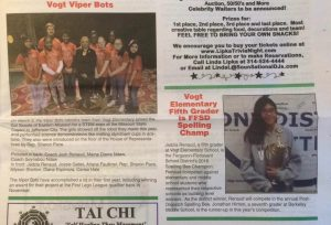 The April 2016 issue of the Ferguson Times had brief items about the Viper Bots and about Jadzia's spelling bee victory.