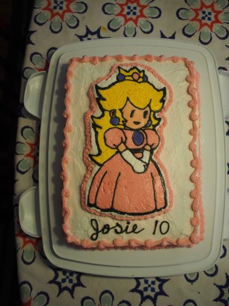 Princess Peach cake for Josie's birthday
