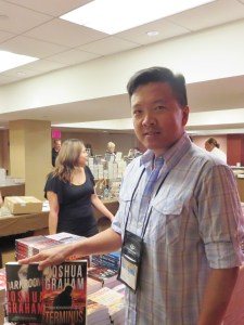 Getting ready to sign my books at the Thrillerfest bookstore (Barnes & Noble)