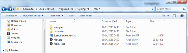 File Pathway to Cycling '74 Program Files