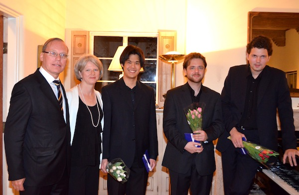 Hosts Wolfgang & Sabine Drautz with pianists Joshua Chandra, Evgeniy Milanskiy, and Vladimir Khomyakov.