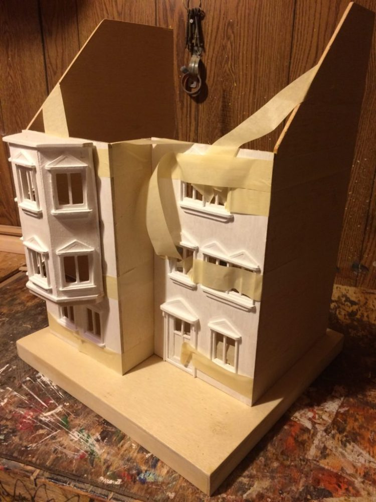 dollhouse glue up using masking tape as a clamp