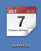iCal Parsed icon on OS X showing the date and title of the first event