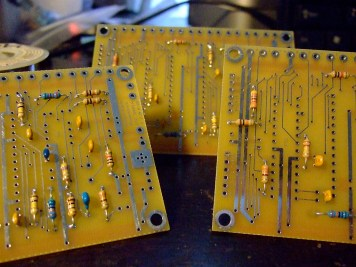 Closeup of circuit boards