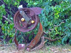 Jonah made this rusty metal pig