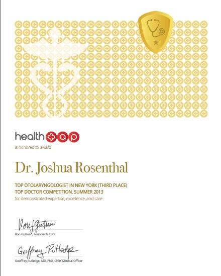 Dr.Rosenthal wins Summer 2013 Top Otolaryngologist Award