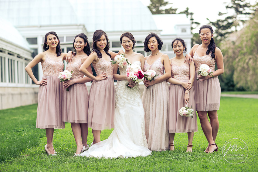 The bride and the bridesmaids. The Vanity Fair style bridal party photoshoot. New York Botanical Garden Wedding Pictures by NYC Wedding Photographer Josh Wong Photography