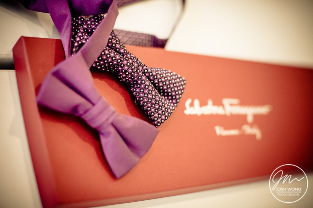 Salvatore Ferragamo neckties and bow ties for grooms. Grounds for Sculpture Museum New Jersey Wedding. Wedding pictures by New Jersey Wedding Photographers Josh Wong Photography