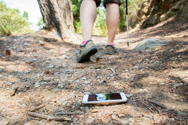 Phone on hiking trail
