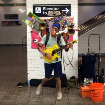 One man band at Times Square